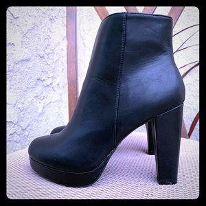 Black platform booties. Size 81/2. Never worn.